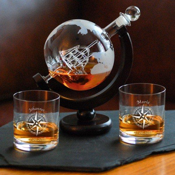 Glaskaraffe-Globus mit Whiskyglas Kompass Geschenkset