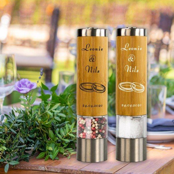 Gewürzmühlen Set zur Hochzeit mit Personalisierung