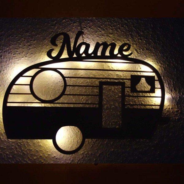 individualisierbare Geschenke LED Holzlicht - Wohnwagen mit Name