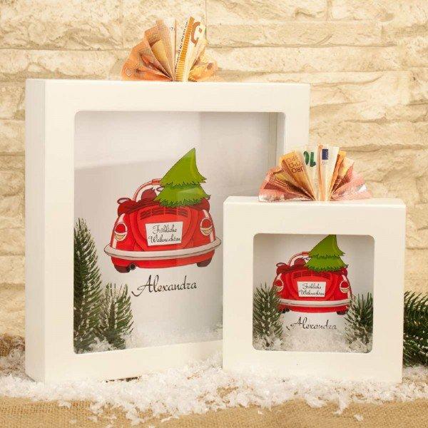 Personalisierte Spardose mit Weihnachtsmotiv
