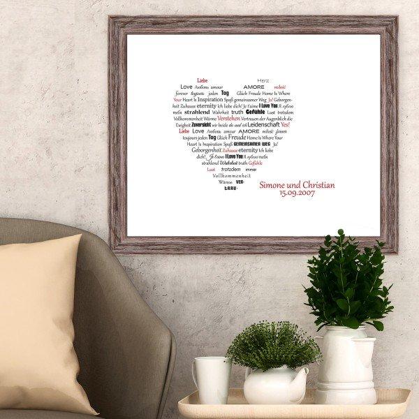 Herz aus Worten - personalisiertes Bild
