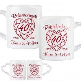 Tassen-Set zur Rubinhochzeit