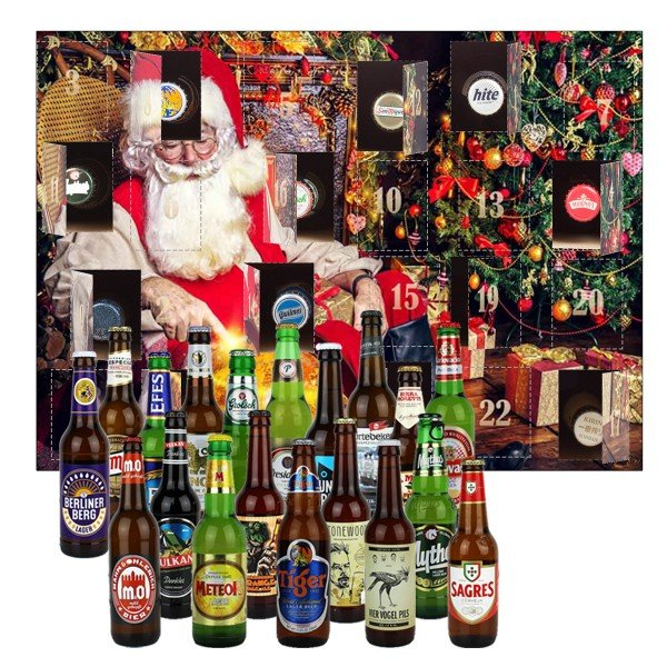 Bier-Adventskalender mit 24 internationalen Bieren