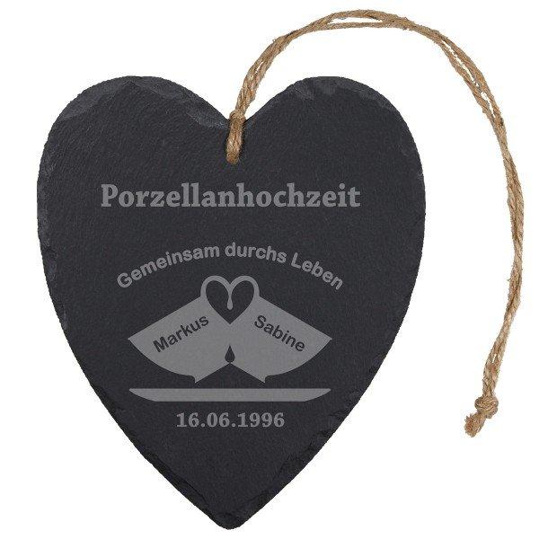 Schieferherz - Porzellanhochzeit