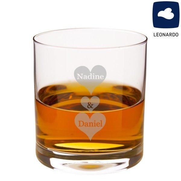 Whiskyglas - Herzen mit Wunschnamen